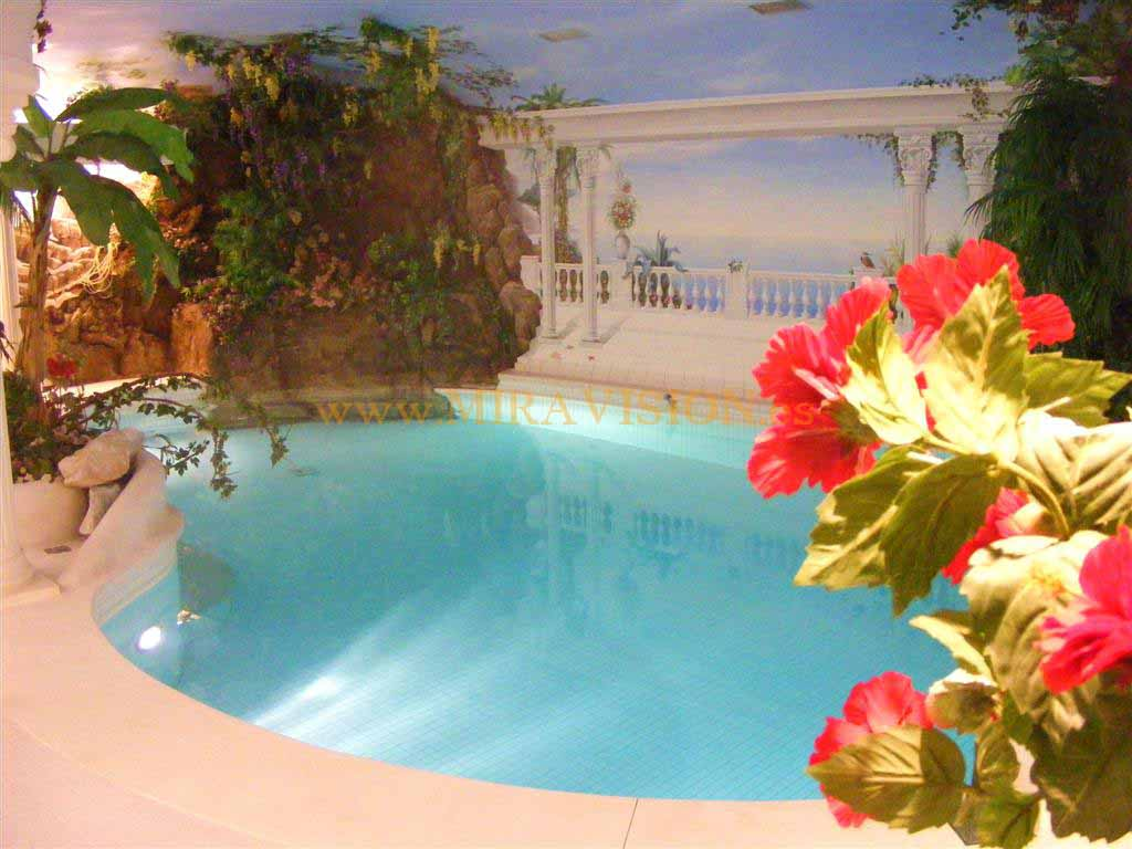 indoor pool with waterfall and hand painted italian fresco on the wall